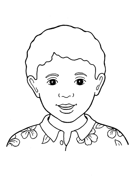A black-and-white illustration of a young boy with curly hair and dark eyes wearing a flower-patterned, collared shirt.
