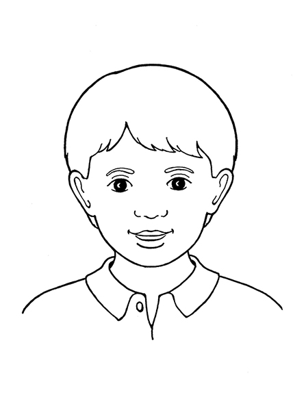 A black-and-white illustration of a young boy with short hair, dark eyes, and a collared shirt.