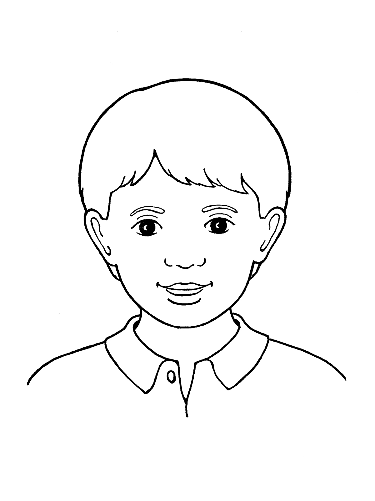 Line Drawing Of Child S Face : Primary boy