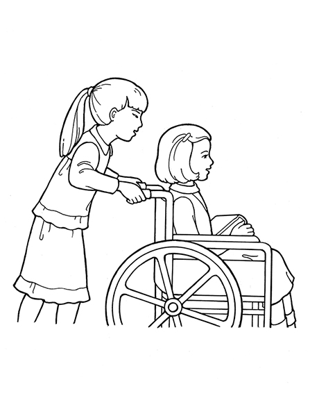 A black-and-white illustration of a young girl in a wheelchair holding books and being pushed by another young girl.