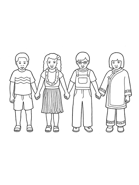 A black-and-white illustration of four children from different nationalities wearing different styles of clothing and standing in a row holding hands.
