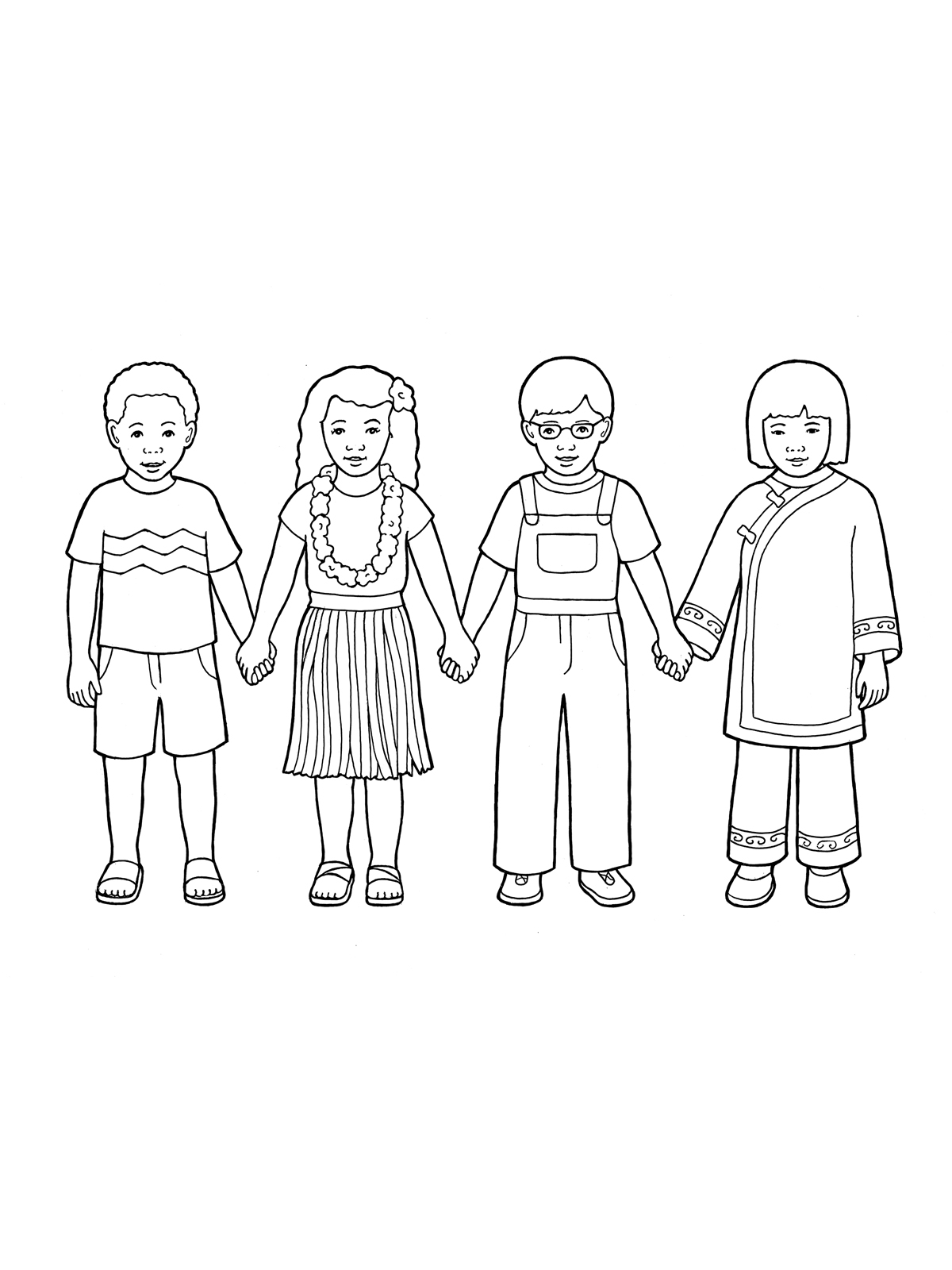 drawing of children primary children holding hands 1455