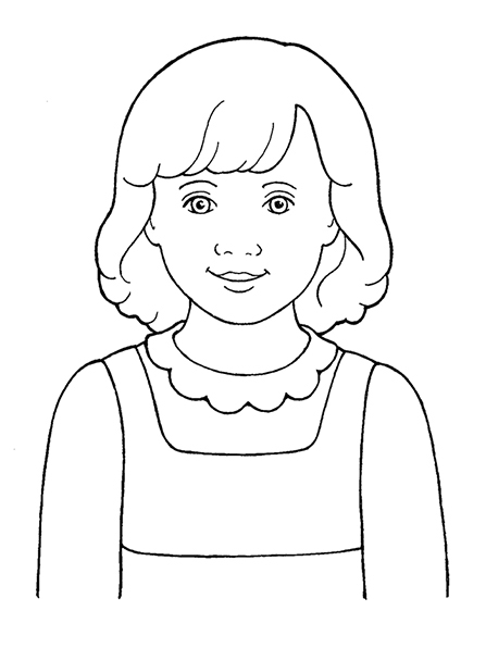 A black-and-white illustration of a young girl with shoulder-length hair wearing a jumper over a blouse with a frilled collar.