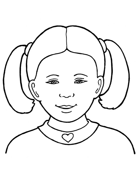 A black-and-white illustration of a Primary-age girl with her hair in two ponytails wearing a shirt with a heart on the collar.