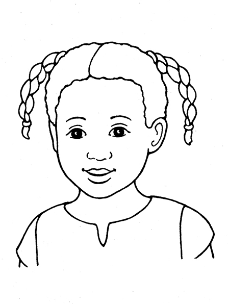 A black-and-white illustration of a young girl with two curly, braided pigtails and dark eyes wearing a simple blouse.