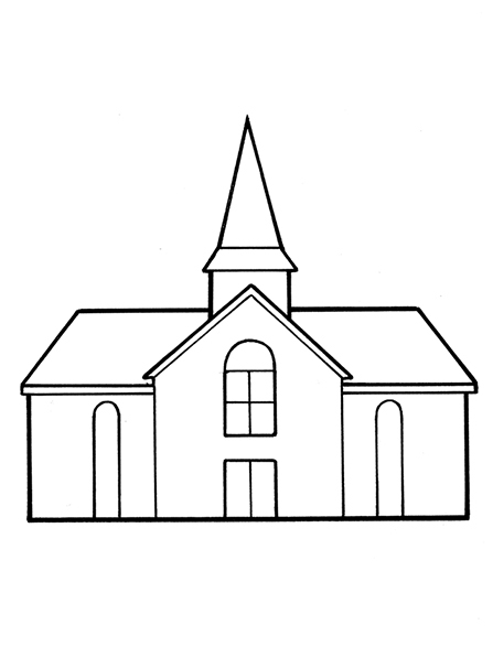A black-and-white illustration of a Church meetinghouse with a single steeple and several windows on the front.
