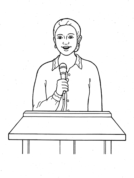 A black-and-white illustration of a Primary president with her hair in a bun standing at a podium, speaking into a microphone she is holding.