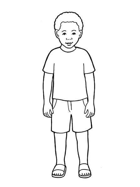 A black-and-white illustration of a young boy with curly hair wearing a T-shirt, a pair of shorts, and sandals.