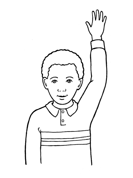 A black-and-white illustration of a young boy with curly hair wearing a striped shirt and raising his hand.