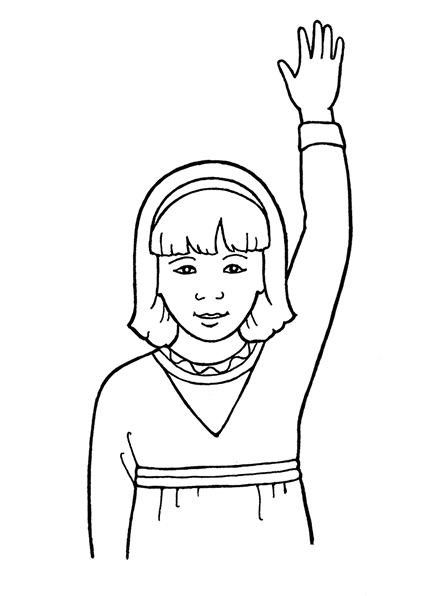 A black-and-white illustration of a girl with shoulder-length hair and a headband, raising one hand.