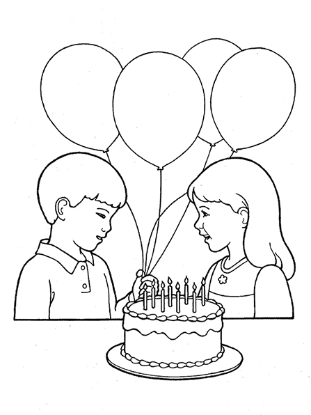 A black-and-white illustration of a boy presenting four balloons to a young girl, with a birthday cake decorated with lit candles in the foreground.