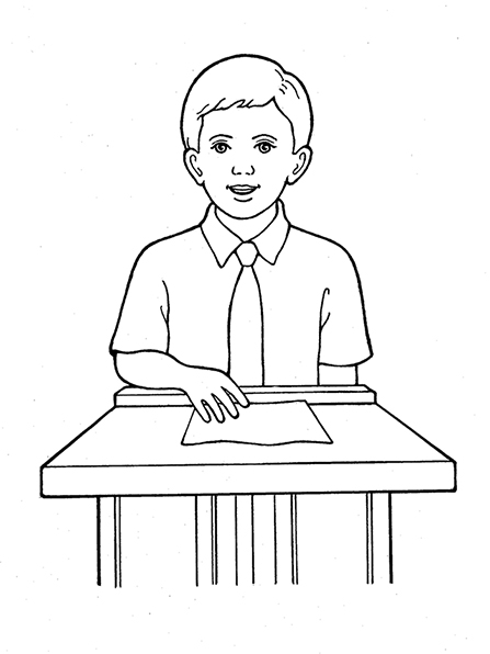 A black-and-white illustration of a young boy in a short-sleeved shirt and a tie, standing at a small podium talking, with a sheet of paper in front of him.