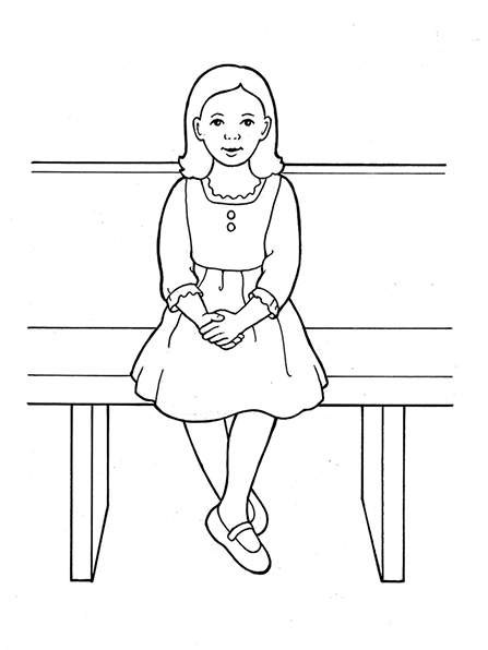 A black-and-white illustration of a young girl in a dress sitting on a bench with her hands held in her lap.