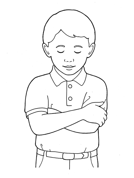 A black-and-white illustration of a boy in a two-buttoned collared shirt with his arms folded, his eyes closed, and his head bowed in prayer.