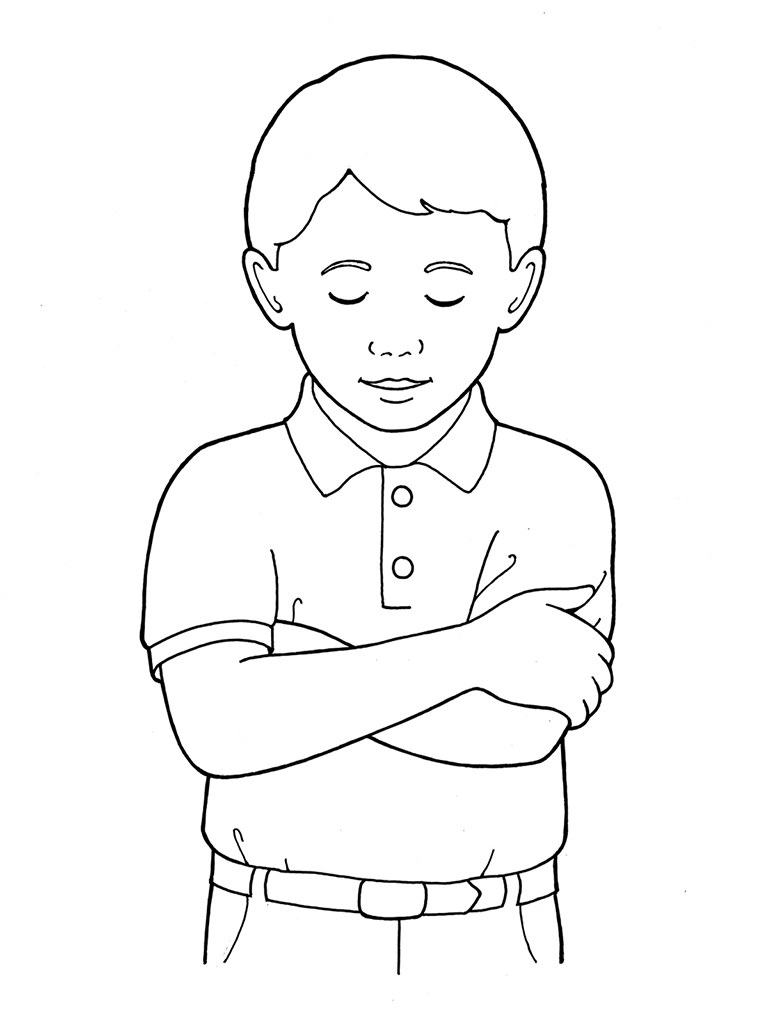 Primary Boy Folding Arms and Bowing