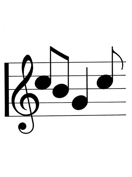 A black-and-white illustration of four musical notes in the treble clef.