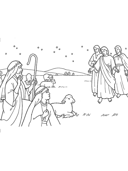 A black-and-white illustration of three angels appearing in the fields to the shepherds who are sitting with their sheep beneath the stars.
