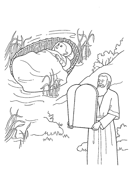 A black-and-white illustration of baby Moses in the background and adult Moses holding the tablets of the Ten Commandments in the forefront.