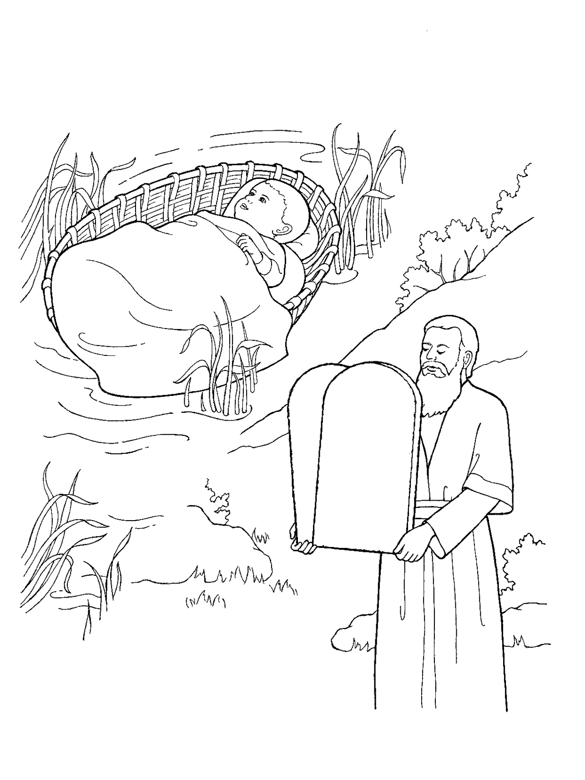 Moses As A Child And With The Ten Commandments Tablet Coloring Pages Lds
