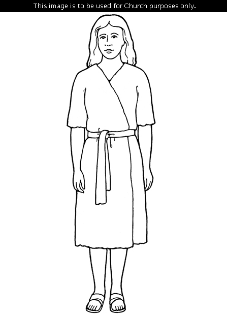 A black-and-white illustration of Eve, wearing a belt and sandals and standing.
