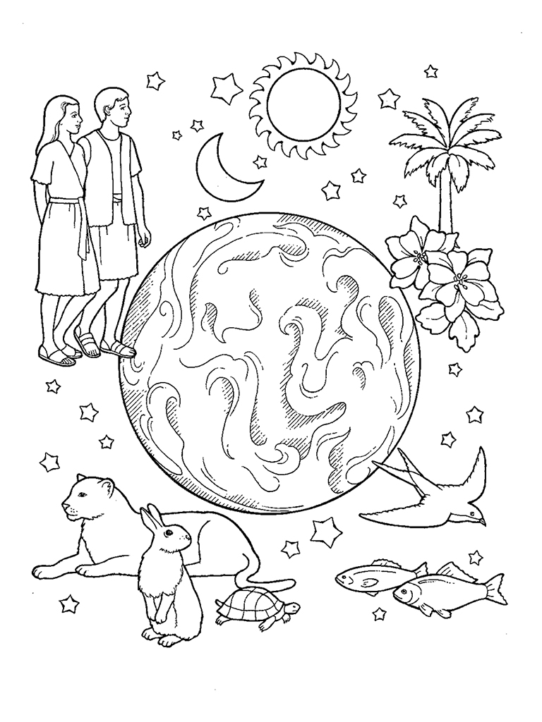 Creation complete for Coloring pages god created the world