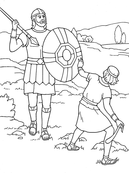 A black-and-white illustration of David with a sling and stone in his hand, swinging it toward Goliath, who is carrying a spear and shield.