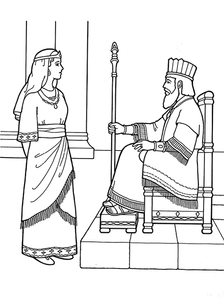 A black-and-white illustration of Queen Esther standing in front of the king, who is sitting in a large throne wearing robes and a crown.