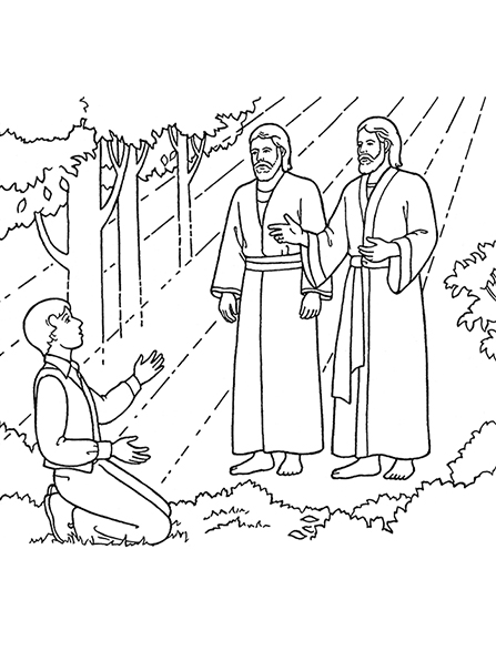 A black-and-white illustration of Heavenly Father and Jesus Christ appearing to a kneeling Joseph Smith in the Sacred Grove.