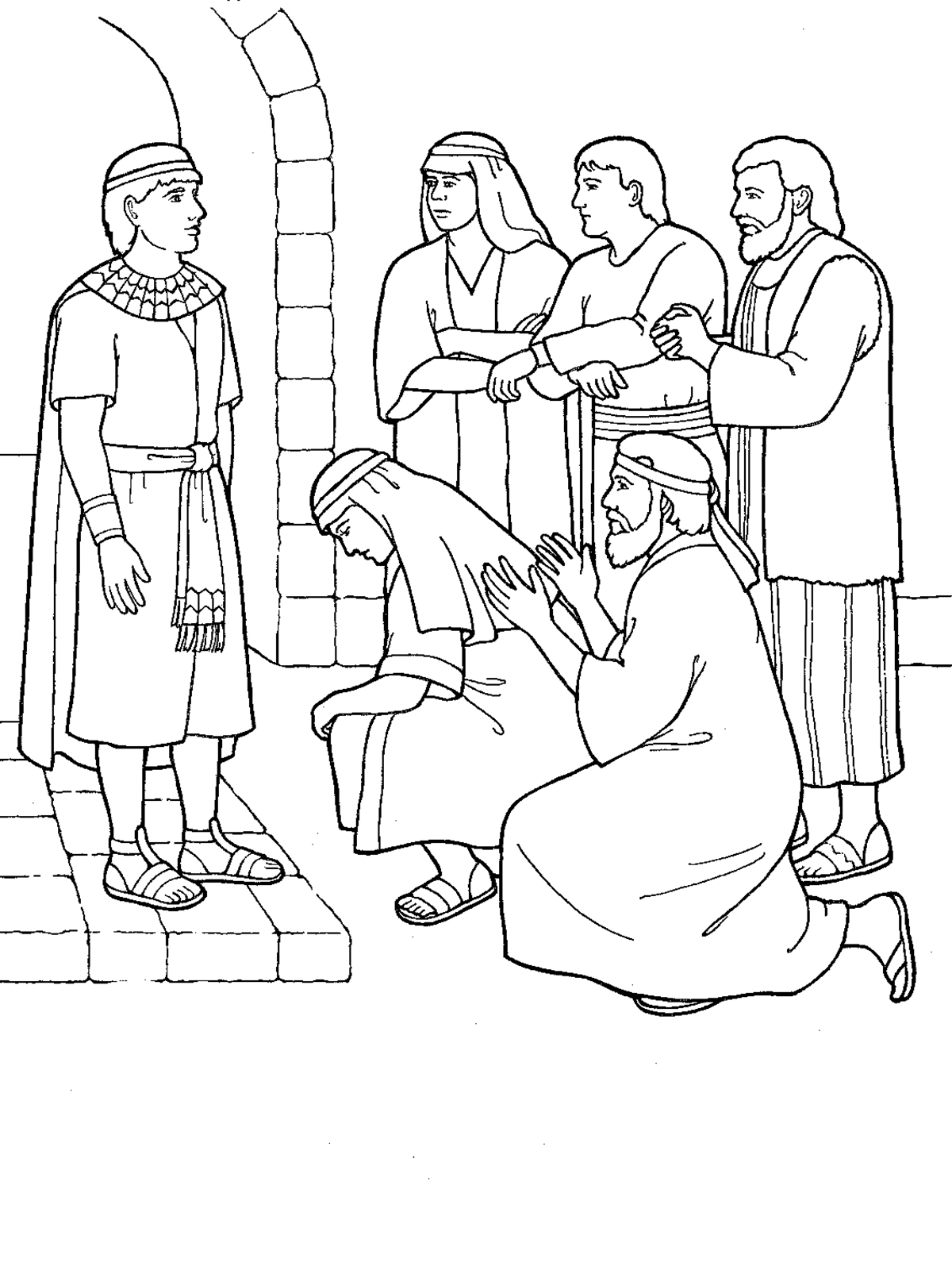 Forgiveness for Joseph in jail coloring page