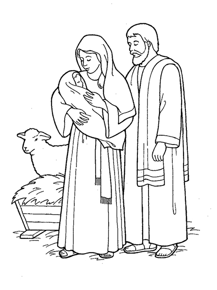 A black and white illustration of Mary, Joseph, and the baby Jesus in the stable, with the manger and sheep in the background.