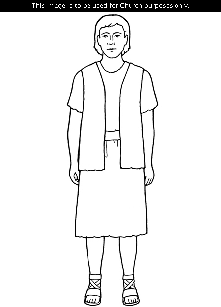 A black-and-white illustration of Adam wearing sandals and standing.