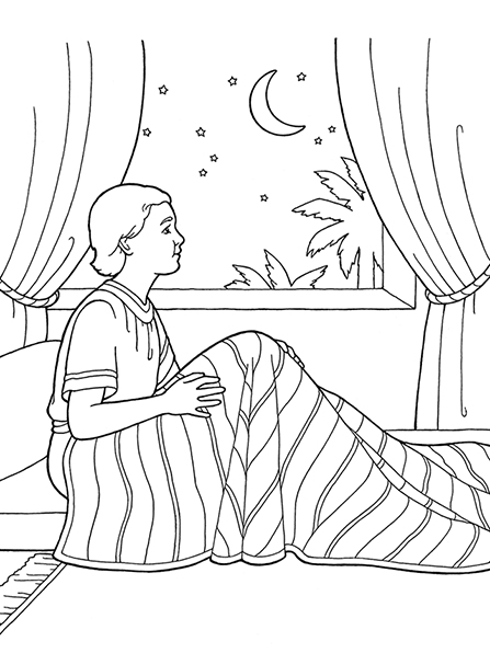A black-and-white illustration of Samuel sitting up in bed under a striped blanket and looking out of a curtained window to the stars and moon.