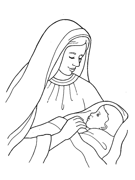 A black-and-white illustration of Mary holding the baby Jesus, who is swaddled in a blanket.