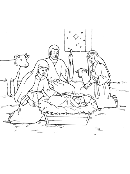 A black and white illustration of Mary, Joseph, and the baby Jesus surrounded by animals, with stars seen out of a nearby window.
