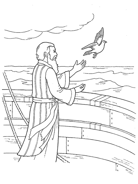 A black-and-white illustration of the prophet Noah releasing the dove of peace from the ark.