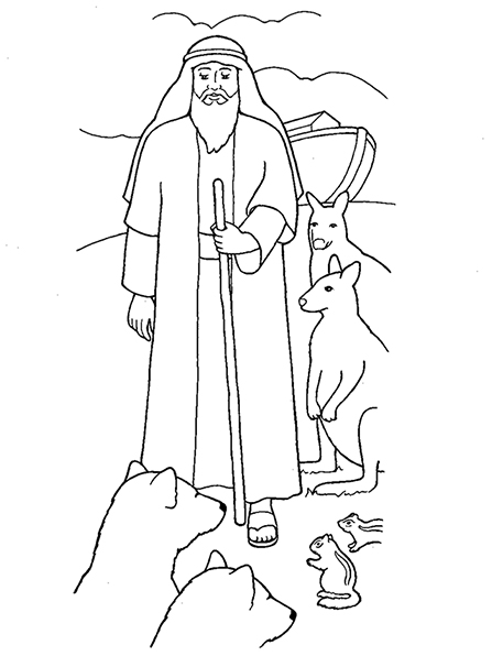 An illustration of Noah holding a staff, surrounded by animals and the ark in the background.