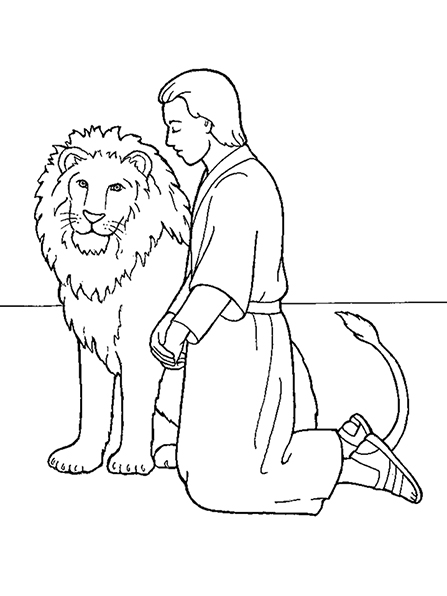 A black-and-white illustration of the young Daniel kneeling in prayer beside a lion.