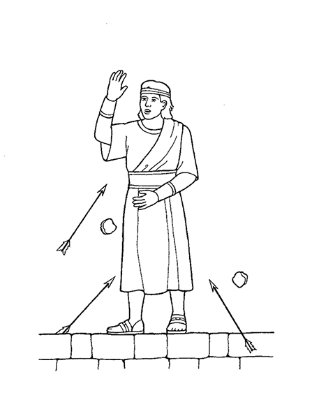 A black-and-white illustration of Samuel the Lamanite withstanding the arrows and stones being thrown at him.