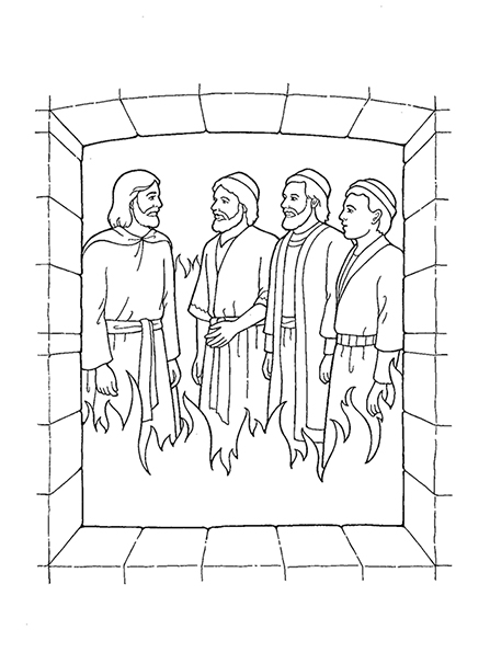A black-and-white illustration of Shadrach, Meshach, and Abednego standing with Christ in the midst of the flames in the furnace.