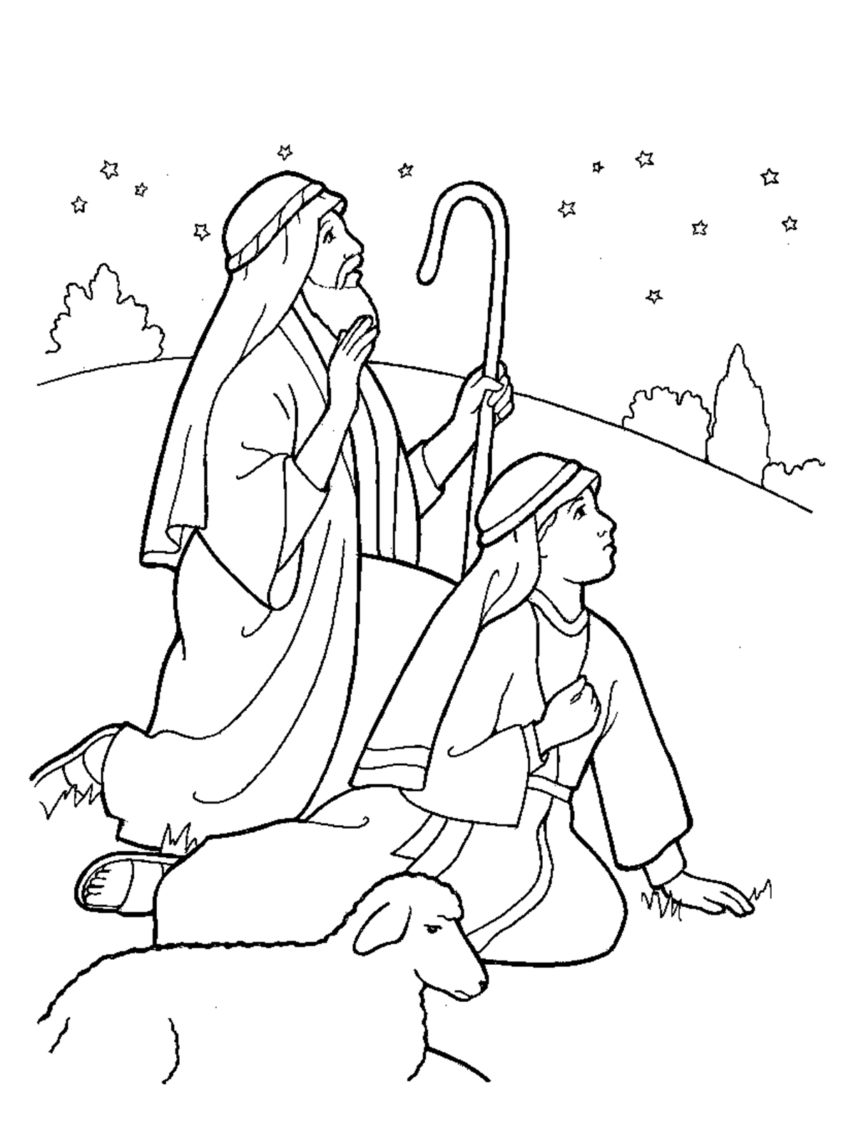 coloring pages sheep and the shepherd - nativity shepherds