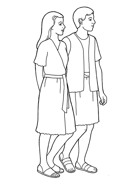 A black-and-white illustration of the side profile of Adam and Eve standing side-by-side with their hands behind their back.