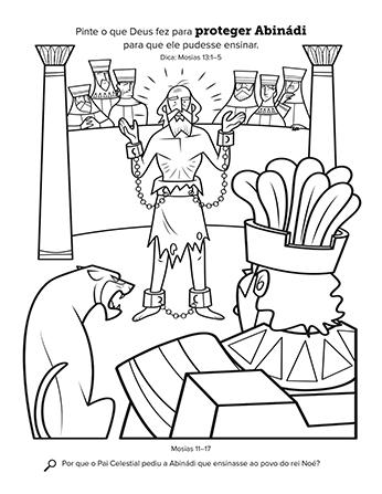 Desenho de Abinádi na corte do Rei Noé.