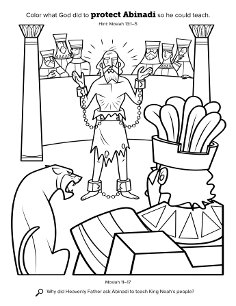A line drawing of Abinadi in the court of King Noah.