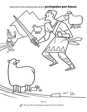 Atividade que mostra Amon usando sua espada para defender o rebanho do rei.