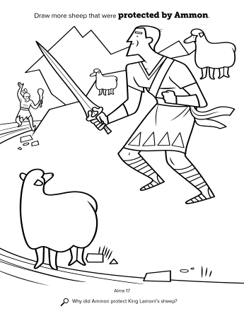 An activity page showing Ammon using his sword to defend the king's sheep.
