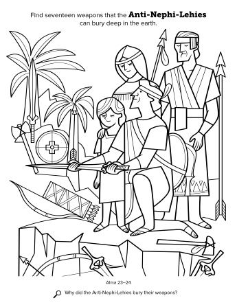 A black-and-white line drawing of a group of Anti-Nephi-Lehies burying their weapons.