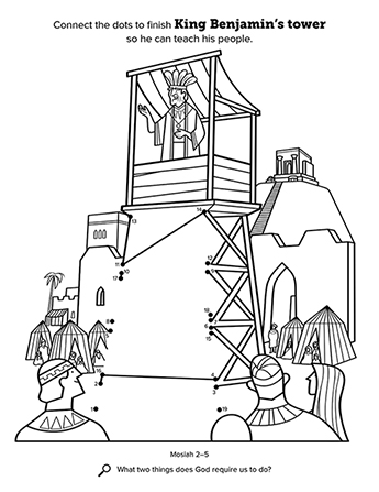 A line-art connect-the-dots activity showing King Benjamin addressing the people from the tower.