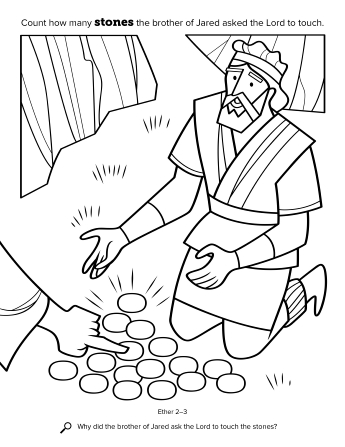 A line drawing depicting the brother of Jared watching the hand of the Lord touch 16 small stones.