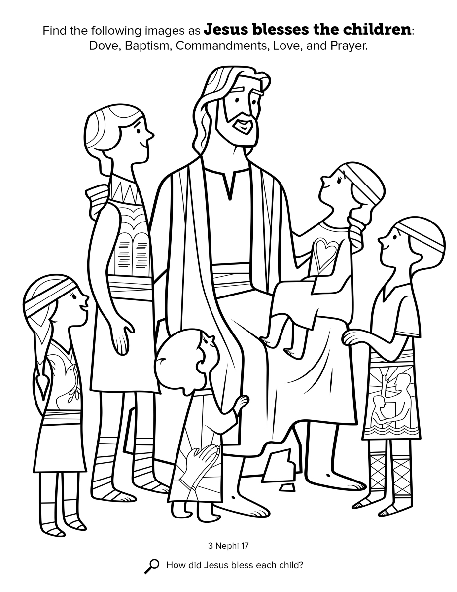 Jesus Blesses The Children - Jesus-love-coloring-pages