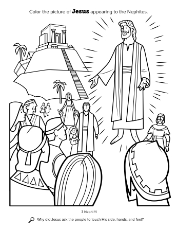 A coloring page depicting Christ appearing to the people in the Americas.